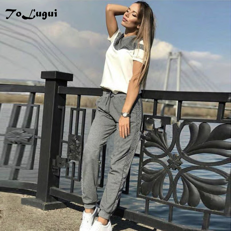 ToLugui Women's tracksuits spring short sleeve cotton pullover Sweatshirt two Piece set fashion Stitching Sporting suit female