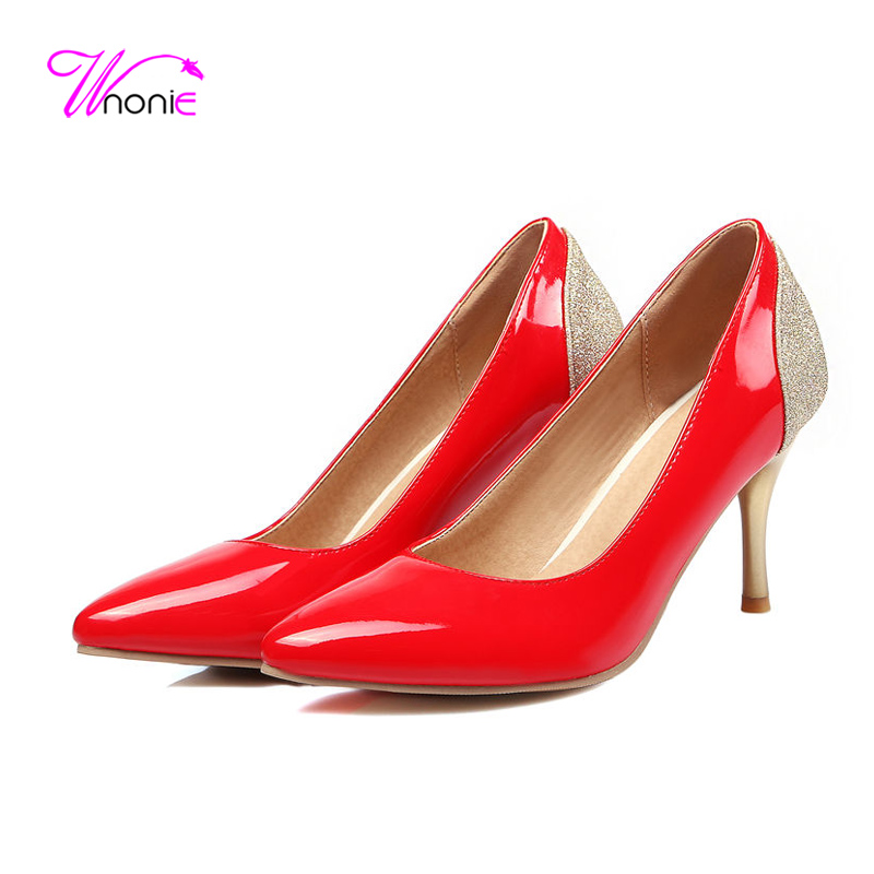 ФОТО 2017 Fashion Women Basic Pumps Thin High Heels Pointed Toe Glitter PU Patent Leather Spring Autumn Sexy Party Dress Ladies Shoes