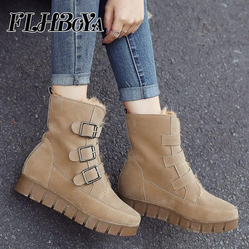 Hiver femmes bottes de neige avec fourrure en peluche dames boucle mi-mollet antidérapant bottes courtes femme solide talon plat Platfrom chaussures