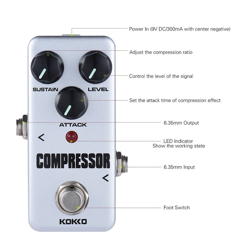 2019 KOKKO Electric Guitar Effects Pedal Mini Compressor DC 9V Aluminum Single Pedal Guitarra Effect Guitar Parts Accessories