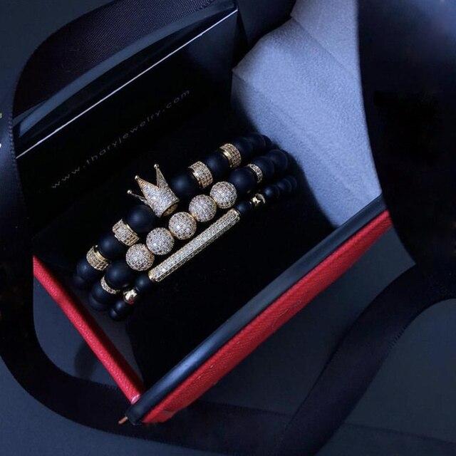 Mężczyźni bransoletka 3 sztuk/zestaw Uxury moda korona Charm bransoletka z kamienia naturalnego dla kobiet i mężczyzn Pulseras Masculina dla kobiet bransoletki