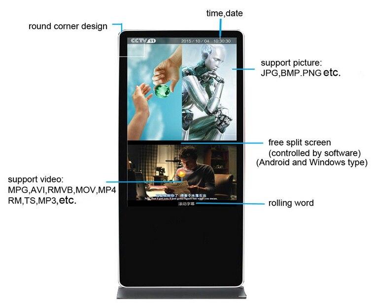 32''47''55''65'' pouces kiosque vidéo lcd Mini Pc lecteurs de publicité numérique moniteur CCTV affichage