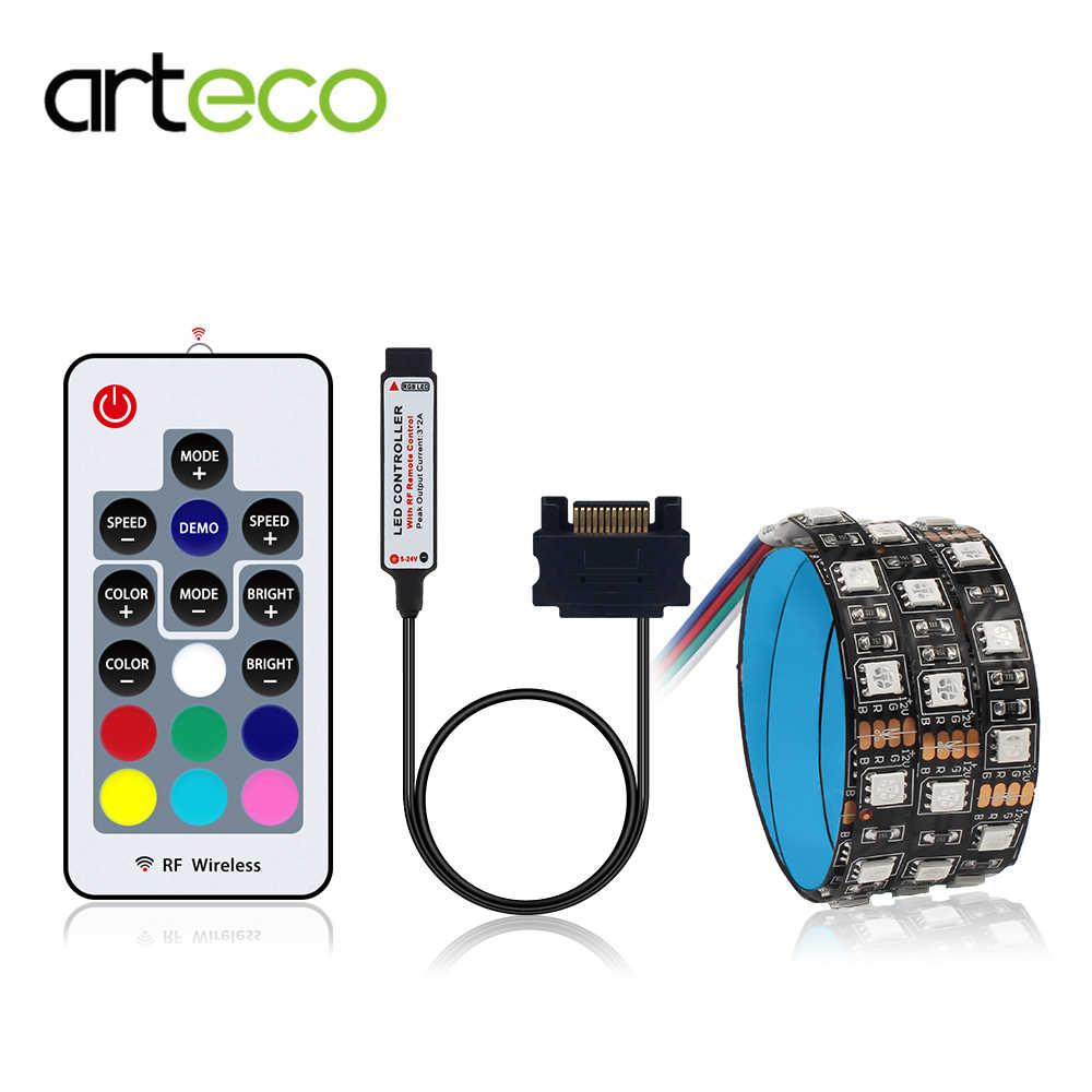 60 LEDs/m RGB 5050 LED Şerit Işık Için PC bilgisayar kasası, SATA arayüzü + 17key RF Uzaktan Kumanda Kablosuz 50 CM 1 M 1.5 M 2 M