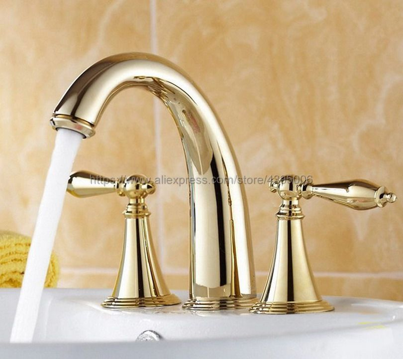 Gold Polished Brass Dual Handle Bathroom Mixer Faucet Deck Mounted 3 Install Holes Hot and Cold Water Lavatory Sink Taps Bnf237Gold Polished Brass Dual Handle Bathroom Mixer Faucet Deck Mounted 3 Install Holes Hot and Cold Water Lavatory Sink Taps Bnf237
