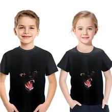 2019 Summer Childrens 3D Animal T-Shirt Short Sleeve Round Collar Boy Girl Black T Shirt Cute Cat Print Kids Fashion Clothes
