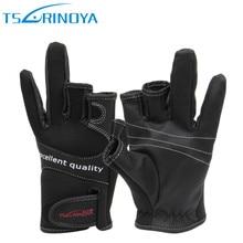 Tsurinoya gants de pêche dhiver néoprène trois doigts coupe gants chasse Camping anti dérapant Gel Sports de plein air garder au chaud gants