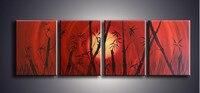 Hand Bemalt Abstrakten Chinesischen Bambus Ölgemälde auf Leinwand Home Decor Wall Kunst 4 Panel Bilder Handmade Red Acryl Gemälde