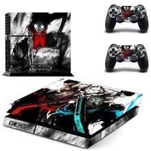 อะนิเมะOne Piece Luffy PS4 สติกเกอร์สติกเกอร์ผิวไวนิลสำหรับSony Playstation 4 คอนโซลและ 2 ตัวควบคุมPS4 สติกเกอร์ผิว