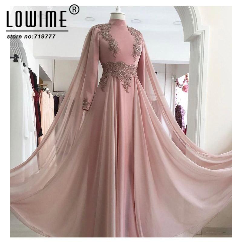 Pink Applique Evening Gown Formal Muslim Evening Dresses Chiffon Arabic Party Dress High Neck Robe De Soiree Longue 2017