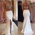 Two-piece Cap Sleeve 2016 New Sexy Summer White Beaded Chiffon Mermaid Prom Dresses Long Evening Party Dress vestido de festa