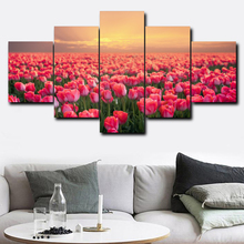 Laeacco Canvas Calligraphy Painting 5 Panel Tulip Garden Posters and Prints Wall Artwork for Living Room Home Decoration Picture