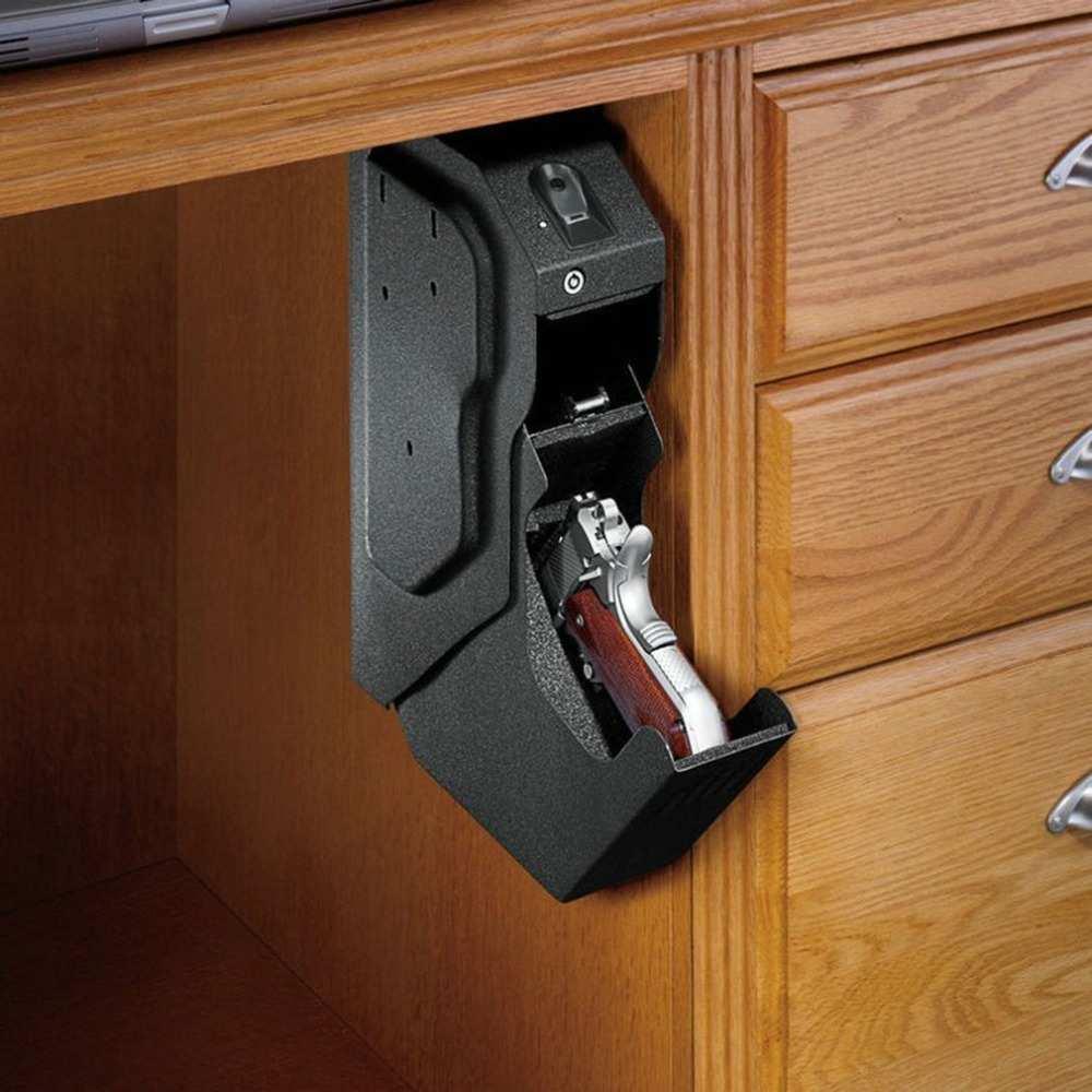 Arma cajas fuertes de huellas dactilares y llave de repuesto bloqueo pistola caja de acero laminado en frío de seguridad Armas huella caja fuerte para escritorio gabinete