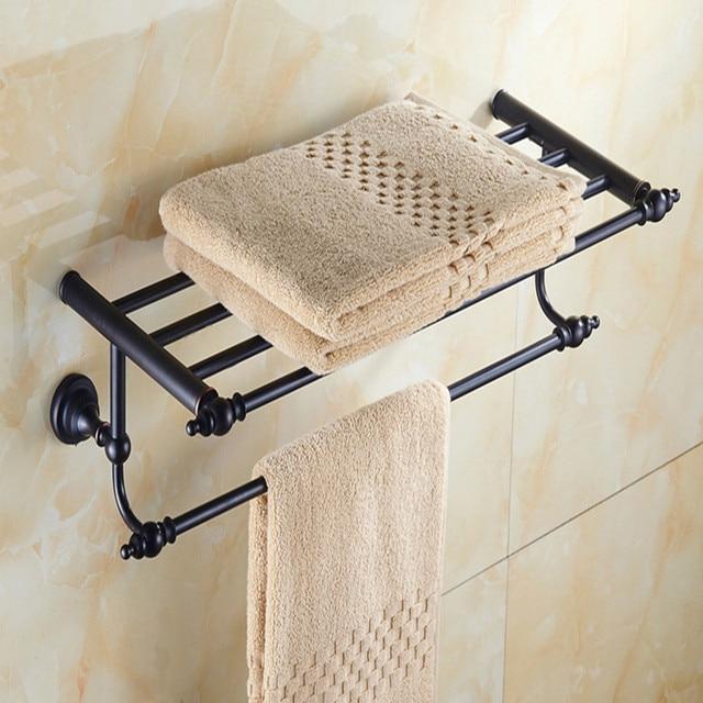 aothpher 60cm brass oil rub bronze finished towel racks brand bathroom accessories towel shelf wall mounted