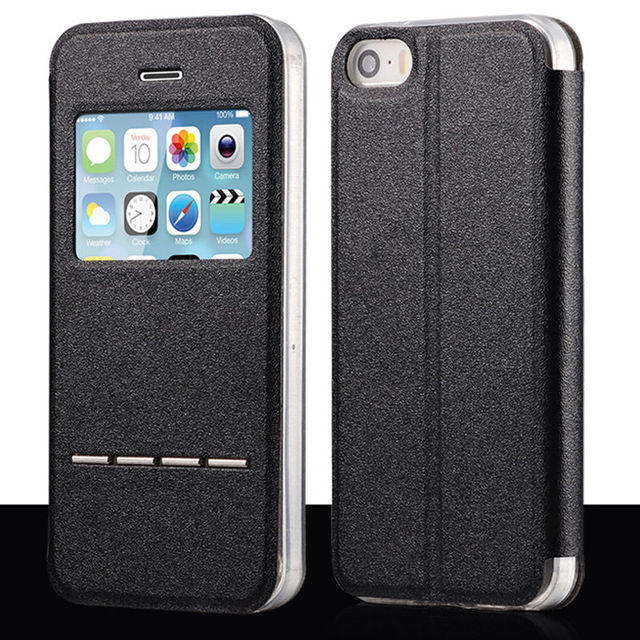 iPhone Smart Flip Shell PU Leather Silicone Case for iPhone  5, SE, 5s