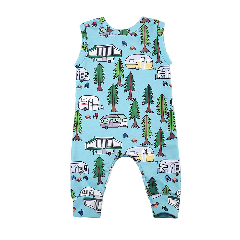Infant Baby Girl Boy Cute Cartoon Romper Creative Green Tree Bus Design Jumpsuit Outfit Playsuit Clothing Roupas De Bebes Menino cute newborn baby boy girl clothes floral infant bebes cotton romper bodysuit bloomers bottom 2pcs outfit bebek giyim clothing