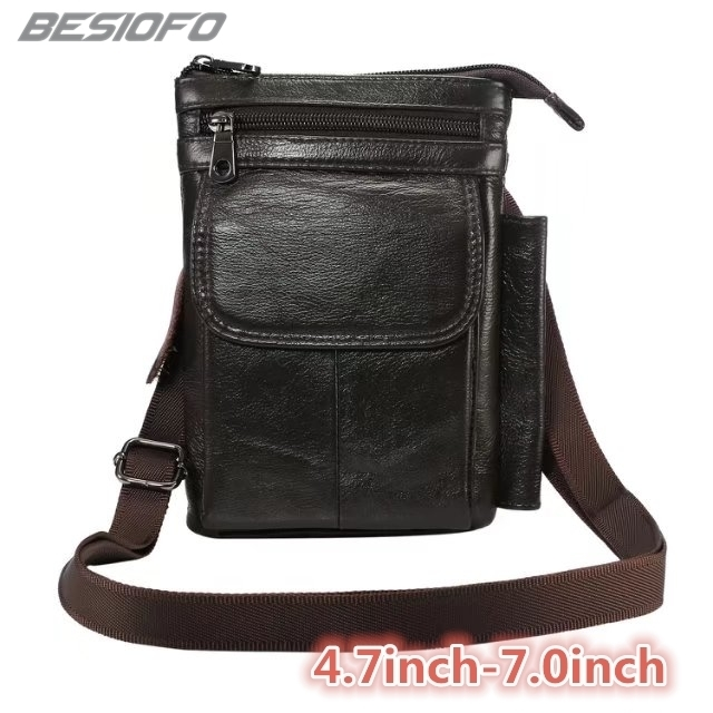 Genuine Leather With Belt Shoulder Bag Holster Zipper Pouch Hook Loop Cover Phone Case For HTC One M7 M8 M9 M10