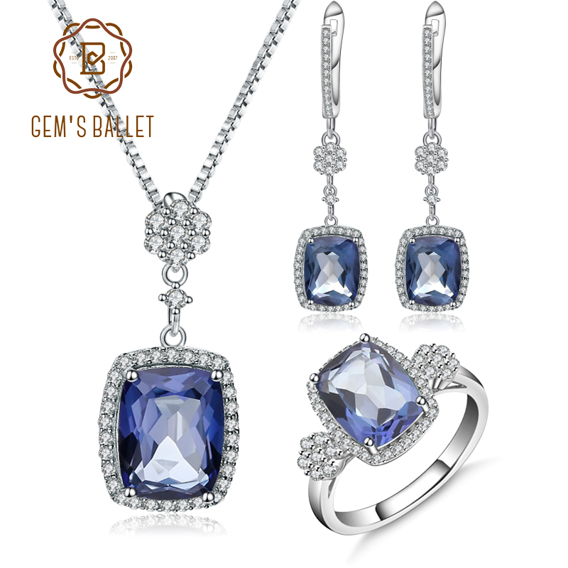 GEM S BALLET Natural Iolite Blue Mystic Quartz Jewelry Sets 925 Sterling Silver Necklace Earrings Ring