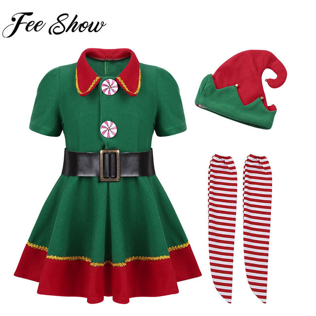 d834f2428b21 Kids Girls Christmas Clothes Green Dress with Red Santa Hat Belt ...