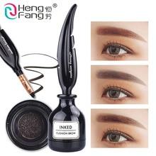 3 Renkler HengFang Marka Tüy Hava Yastığı Mürekkep Kaş Jel Profesyonel Göz Makyaj Su Geçirmez Uzun Ömürlü Kaş Artırıcı