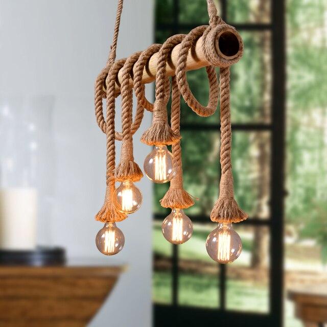 Vintage Retro Anhanger Lichter Loft Seil Bambus Anhanger Lampe Kuche