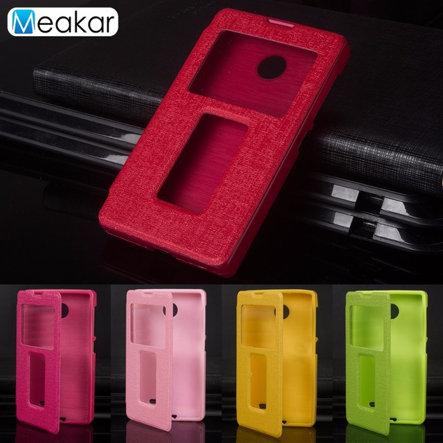 Double View Window Flip Pu Leather 4.0For Nokia X Case For Nokia X Cell Phone Back Cover Case