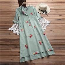 2019 Fashion Women Cotton Linen Embroidery Casual Dress Plus Size Short Sleeve Mini Loose Summer O Neck Beach