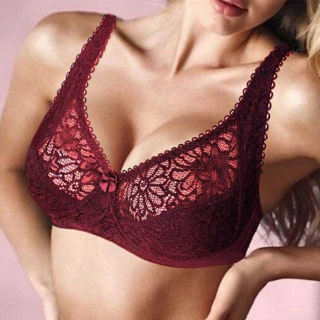 0c72d0e3acecb Sexy Lace Bra for Women Adjusted-straps Perspective Bralette Underwire Embroidery  Floral Brassiere Plus Size BH B C D DD E F Cup