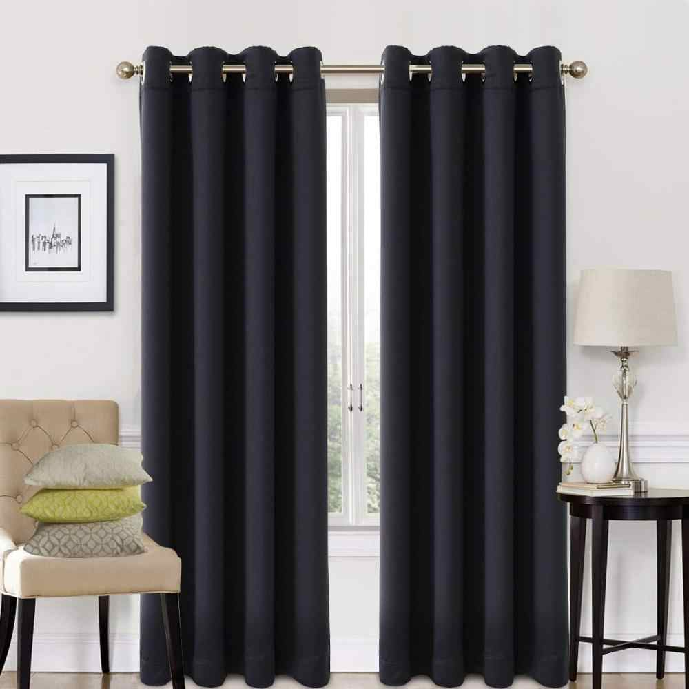 Blackout Curtains for Bedroom Living Room Modern Solid Curtain for On The Window Door Luxury Custom Size Black Red