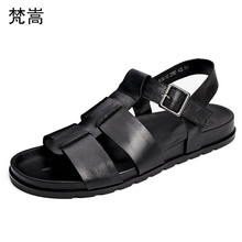 Genuine Leather sandals British fashion Roman mens shoes casual breathable buckle sandals men beach shoes mens gladiator sandals цены онлайн