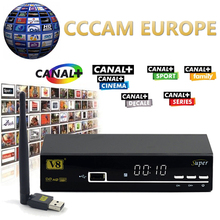 1 Año Europa Servidor Cccam HD Freesat V8 Súper DVB-S2 Satélite receptor Lleno 1080 P Italia España Árabe Cline Con USB Wifi Cccam