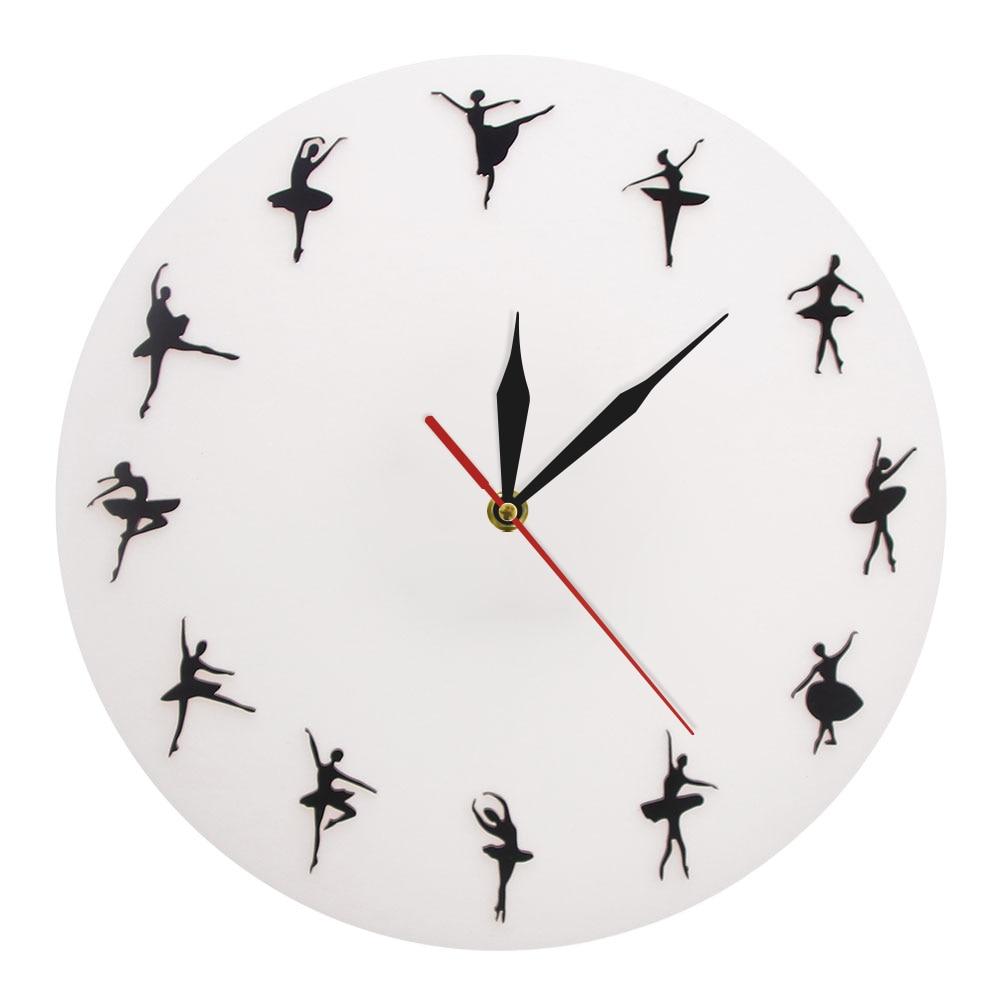 Ballet Time Wall Clock Ballerina Dancers Minimalist Design Dance Studio Wall Decor Modern Wall Clock Dancing Lovers Art Gift
