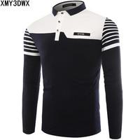 Mens Polo Shirt 2017 Autumn New Korean Version Striped stitching Long Sleeve slim Shirts Cotton Casual Polos Lapel Man Camisa