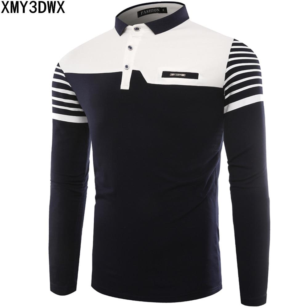 Mens Polo Shirt 2017 Autumn New Korean Version Striped Stitching Long Sleeve Slim Shirts Cotton