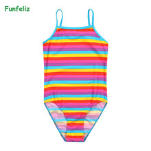 Funfeliz UPF 30+ Girls Swimsuit Cute Striped One Piece Swimming Suit for Kids Quality Swimwear Girl 2-8Years Children Bikini