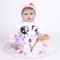 Reborn Baby Doll Rooted Brown Mohair Blue Bebe Romper Soft Silicone Cloth Body Lovely Boneca Christmas Gift For Girls Boys Kids