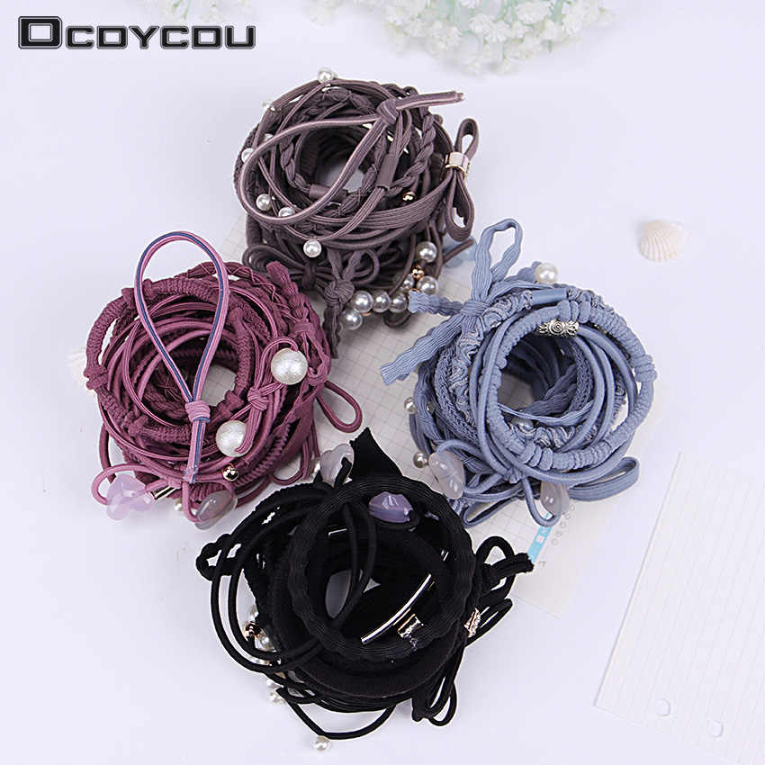 24PCS/Set Girls Lovely Ribbon Bowknot Hair Ropes Rubber Band Cute Hair Ties Bow Elastic Hair Band Accessories Gift