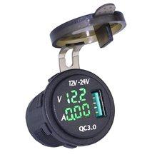 Waterproof QC 3.0 USB Charger Socket Digital Voltmeter Ammeter monitoring for Car Boat Marine Rv Motorcycle Red Green Blue