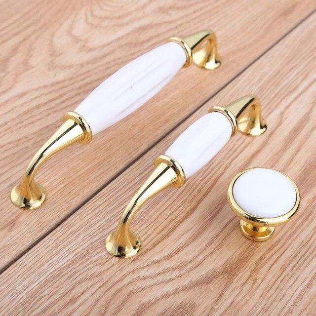 128Mm Cuisine Cabinet Poignée Blanc En Céramique Tiroir Pull D'Or