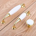 128mm Kitchen cabinet handle white ceramic drawer pull golden dresser door handle modern simple furniture handle 160mm 96mm