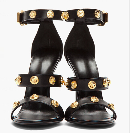 5ece62405 Ankle Strap Women Sandals Thin High Heels Sequined Decoration Buckle Strap  Open Toe Black Sexy Summer Party Ladies Shoes-in Women's Sandals from Shoes