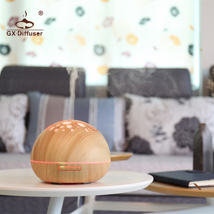 GX.Diffuser GX-21K Aromatherapy Aroma Diffuser Ultrasonic Humidifier Air Cleaner LED Lamp 7 Colors Essential Oil Diffuser Fogger