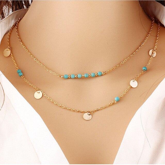 033f32efe24a Capa multi oro plata de la cadena gargantillas collares de mujer moda  turquesa Maxi accesorios collar