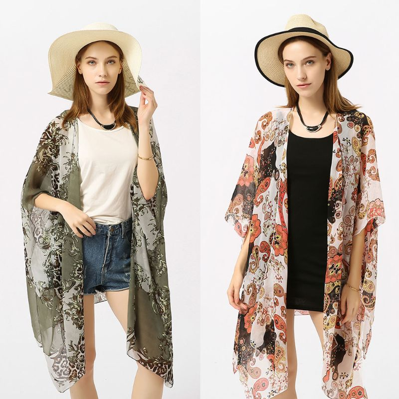 Bright Womens Summer Chiffon Swimsuit Cover Up Boho Colored Leopard Paisley Floral Printed Irregular Oversized Loose Open Front Kimono Exquisite (In) Workmanship