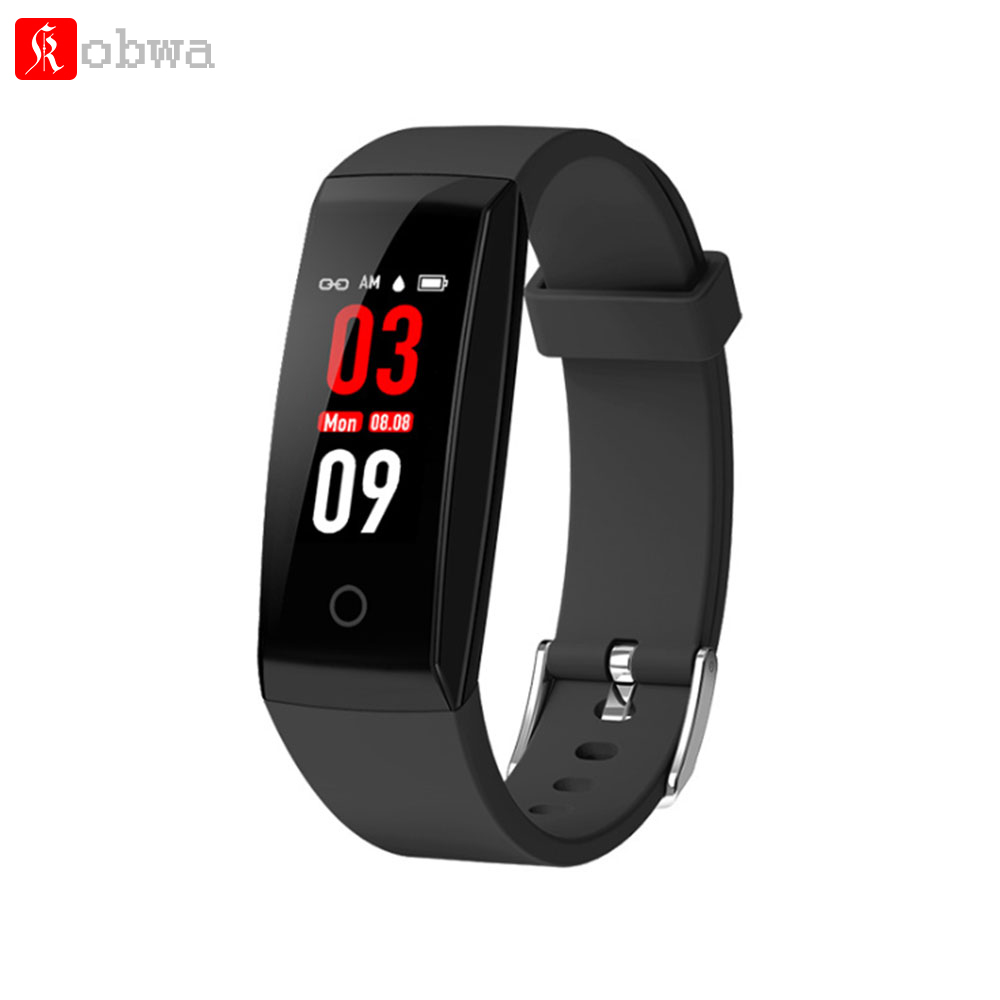 Kobwa W8 Smart Wristband Bracelet Send Replacement Band 0.96'' LED Screen Step Count Fitness Tracker Heart Rate Sleep Monitor
