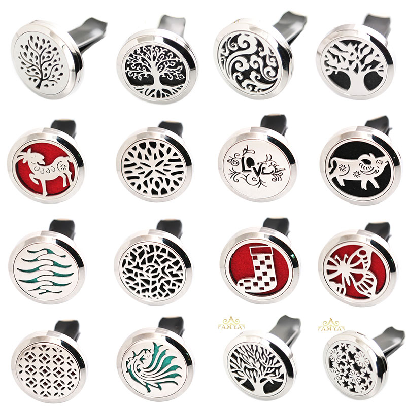 More Than 33 styles 30mm Diffuser 316 Stainless Steel Car Aroma Locket Essential Oil Car Diffuser Locket Free 10Pcs Felt Pads