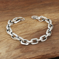 S925 Men S Fashion Wholesale Silver Jewelry Handmade Vintage Silver Square Ring Bracelet Personality