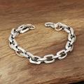 S925 men's fashion wholesale silver jewelry handmade Vintage Silver Square  Bracelet personality