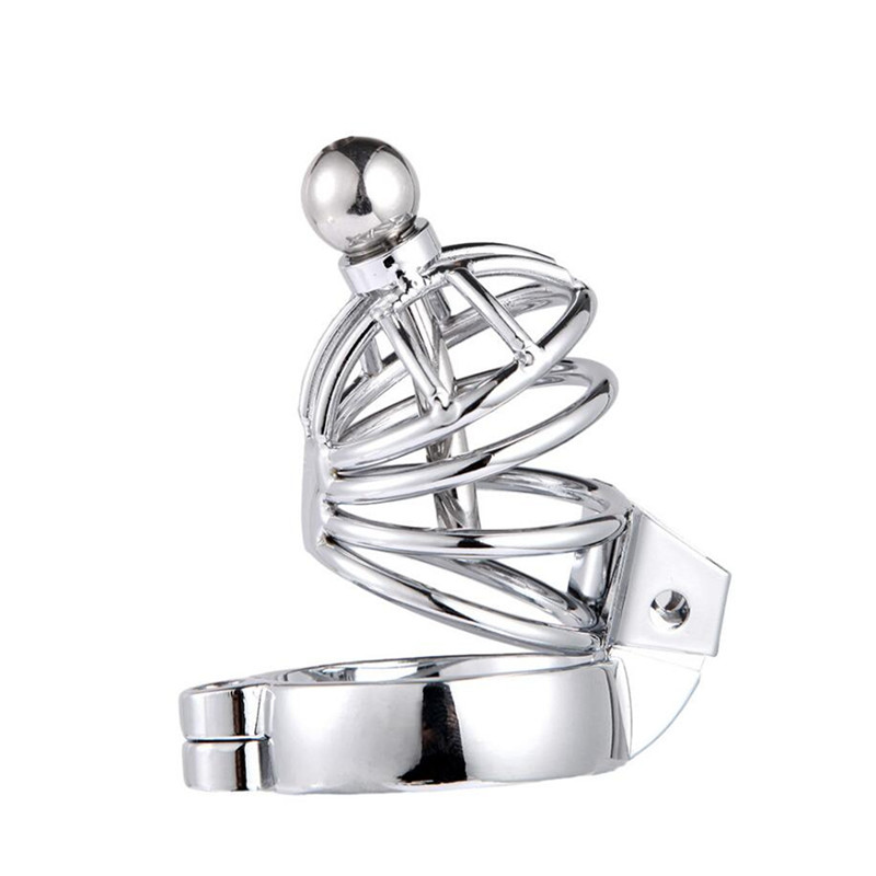 Male Chastity Device Men Bird Lock Stainless Steel Belt Chrome Cock Cage ZJ010