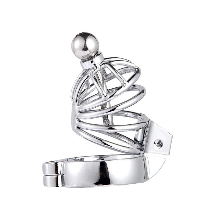 Male Chastity Device Men Bird Lock Stainless Steel Belt Chrome Cock Cage ZJ010