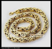 Free Shipping 1x 163 5g Heavy Gold Stainless Steel Men S Byzantine 8 5mm Necklace Chain